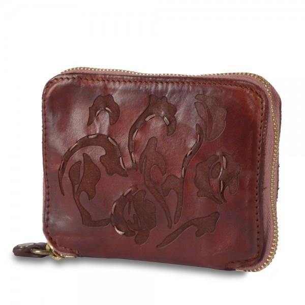 Wallet zip around cow.+floral taser+seams-p/d C002060ND X1410
